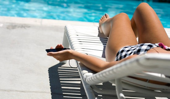 Smartphones and tablets on vacation